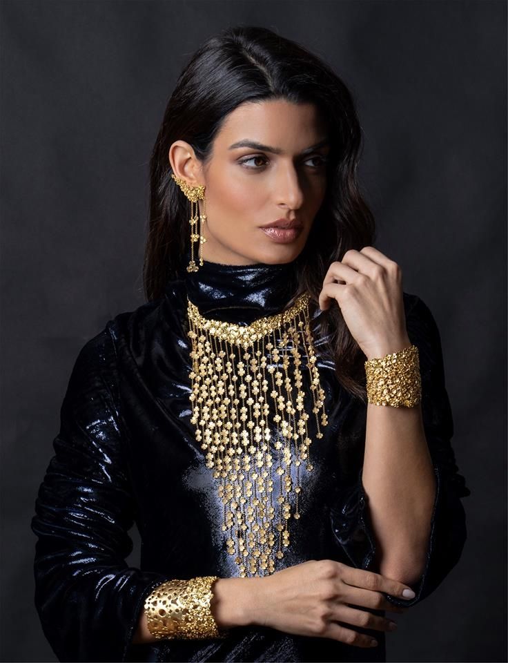AJMIG's Ambassador Tonia Sotiropoulou photographed with Mary's Samoli Jewellery.
