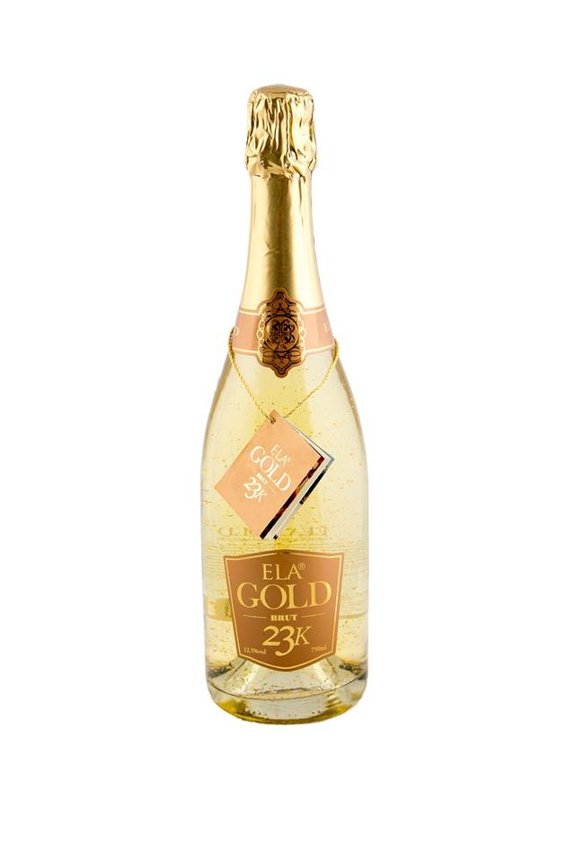 ''Ela Gold'' Natural sparkling wine with 23 karat pure gold flakes.